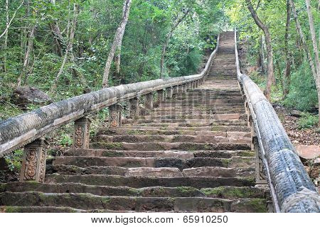 Stone Stairway To Mountaintop Temple Ruins In Cambodia