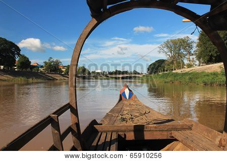 View Of The River From The Bow Of A Cambodian Boat