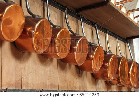 Copper Pots Ready For Cooking