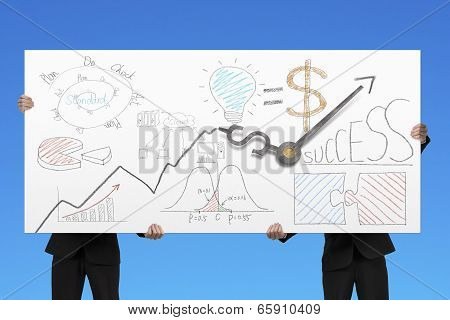 Holding Billboard With Business Doodles And Clock Hands