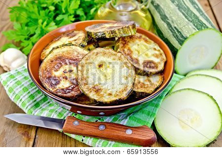 Zucchini Fried With Napkin On Board