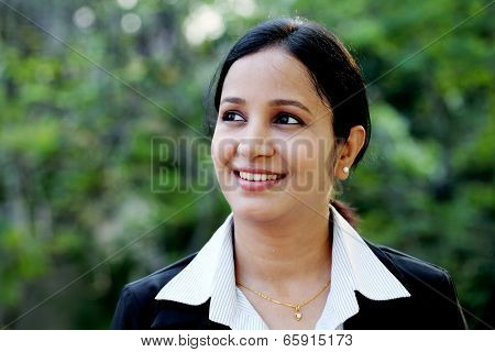 Smiling Business Woman At Outdoors