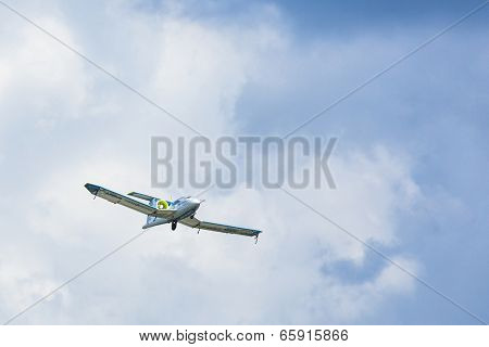 BERLIN, GERMANY - MAY 20, 2014: Prototype electric aircraft Airbus E-Fan (Airbus / France), demonstration during the International Aerospace Exhibition ILA Berlin Air Show-2014.