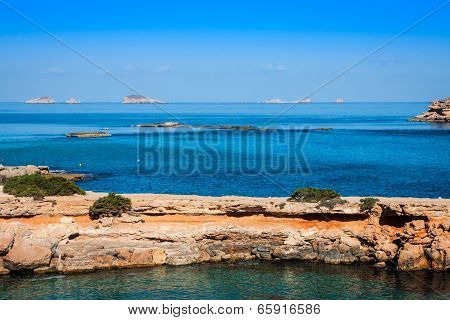 Beautiful Island And Turquoise Waters In Cala Conta, Ibiza Spain