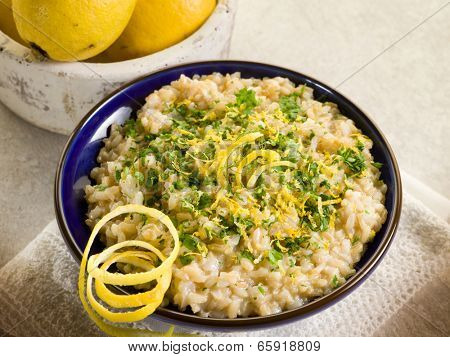 risotto with lemon and parsley, healthy food