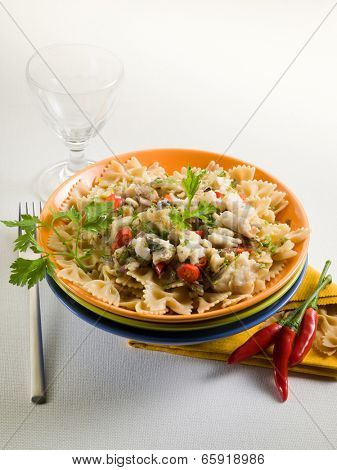 pasta with hake, hot chili pepper and parsley