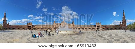 Panorama Of The Plaza De Espana In Seville, Spain