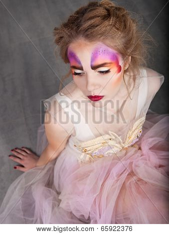 Portrait Of A Young Model Beautiful Woman With Perfect Butterfly Make Up