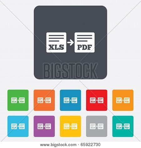 Export XLS to PDF icon. File document symbol.