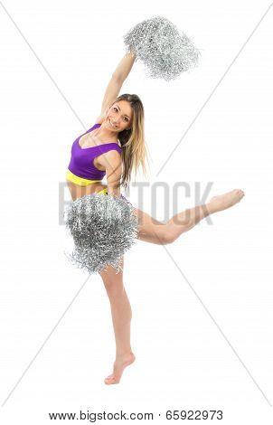 Cheerleader Dancer From Cheerleading Team Jumping And Dancing