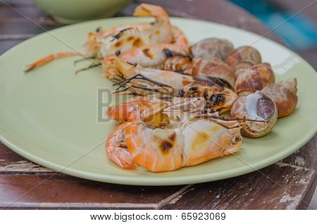 Grilled Seafood On Dish