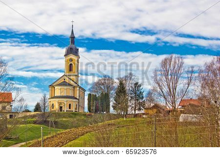 Catholic Church On Idyllic Village Hill
