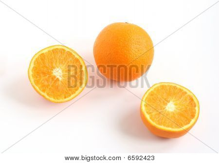 Whole Orange And Orange Sliced In Two