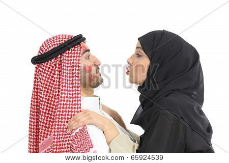 Arab Saudi Obsessed Woman Kissing A Man