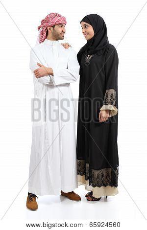 Full Body Of An Arab Saudi Couple Posing Together