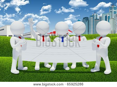 Five 3d white people holding blank poster