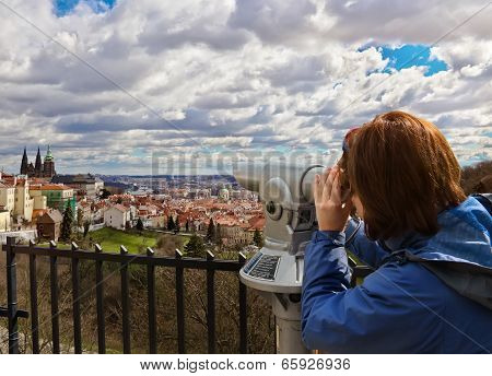 Young Woman Looking At Mala Strana And St. Vitus Cathedral In Prague