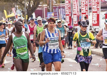 Closeup Of Runners And Spectators At Comrades Marathon