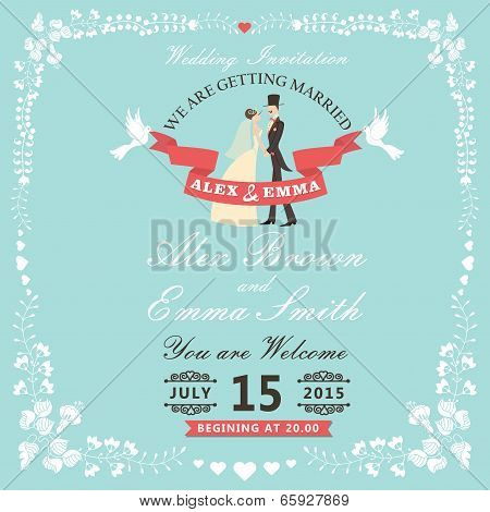 Wedding Invitation With Cartoon Bride, Groom And Floral Frame