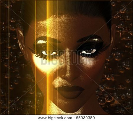 Abstract digital art image of woman's face and gold light, close up.
