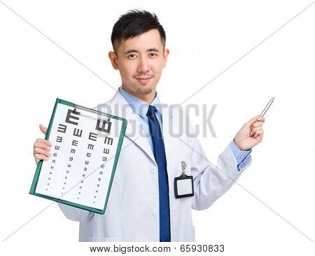 Male doctor holding eye chart and pen pointing up