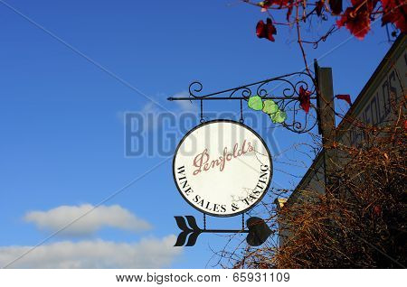 Barossa Valley, South Australia – May 29, 2014: Ornate Signage Outside The Penfolds Estate Wine Sale