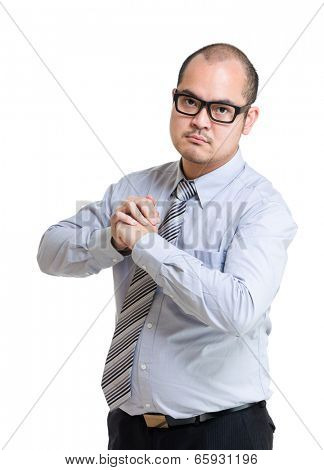 Angry businessman want to fight