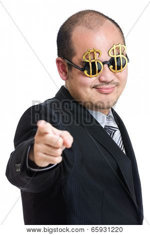 Millionaire pointing to front