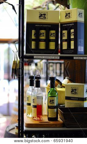 Barossa Valley, South Australia – May 29, 2014: Maggie Beer's Famous Verjuice Products Sold Inside T