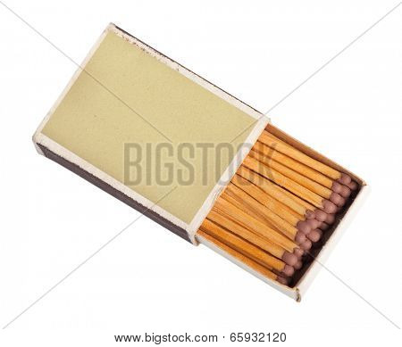 Matches in a matchbox isolated on white background