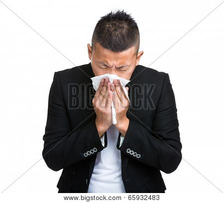 Businessman sneeze
