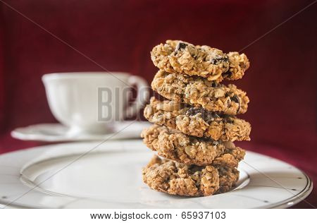 Homemade Oatmeal Chocolate Chip Cookies.