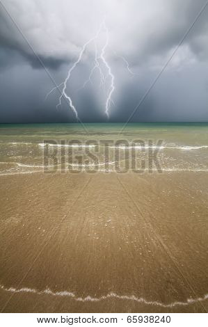 Beach, sea and Thunder storm.