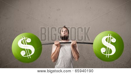 Funny skinny guy lifting green dollar sign weights