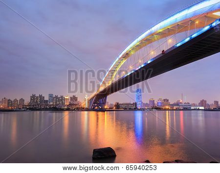 Shanghai Lupu Bridge Across The Huangpu River