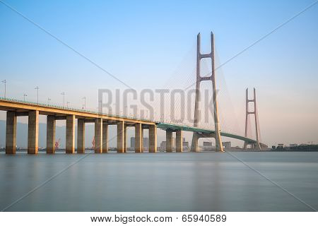 Cable Stayed Bridge At Dusk