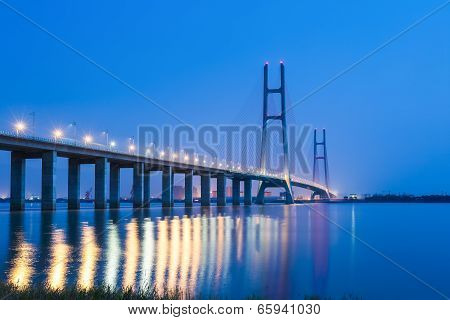 The Second Bridge Of Jiujiang At Night