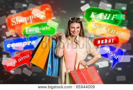 Shopping woman with glowing shopping labels, concept shopping