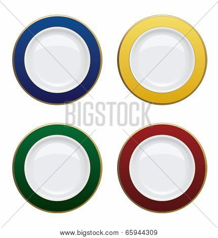 Colorful Plate With Gold Rims On White Background. Vector Illustration