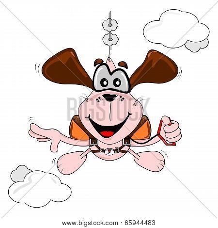 Cartoon dog parachuting