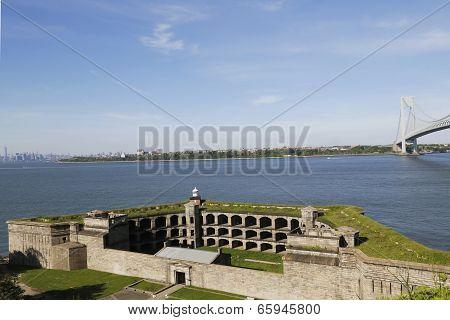 Fort Wadsworth in the front of Verrazano Bridge in New York