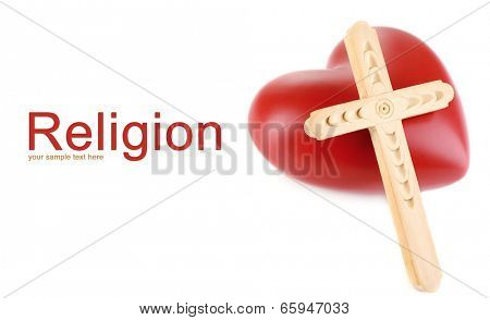 Heart with wooden cross isolated on white
