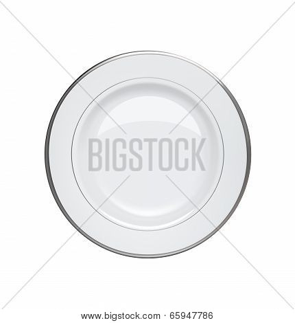 Plate With Silver Rims On White Background. Vector Illustration