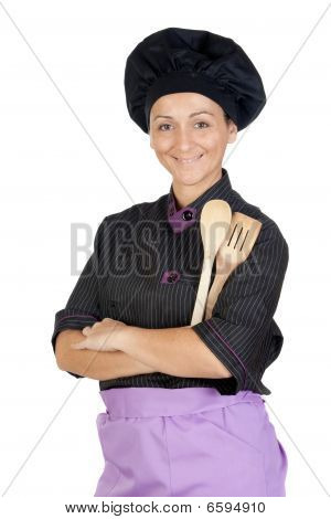 Pretty Cook Girl With Wooden Cookware