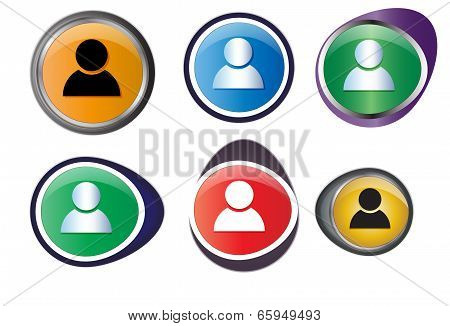 Set of profile buttons
