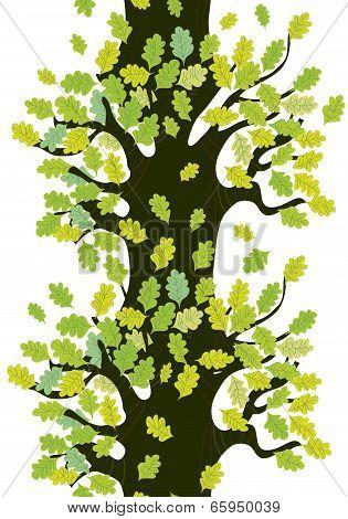 Tree seamless border with oak leaves cute