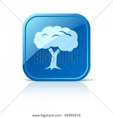 Tree icon on blue web button
