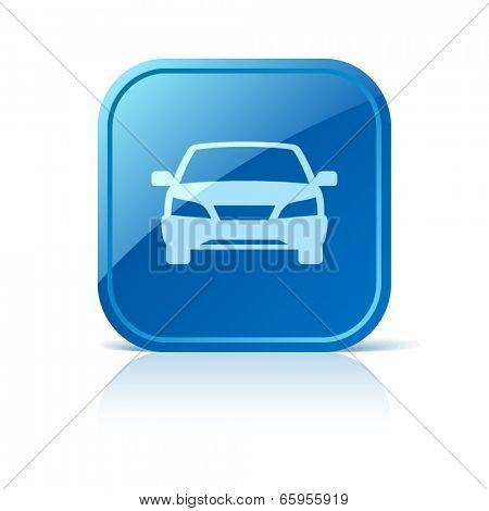 Car icon on blue web button