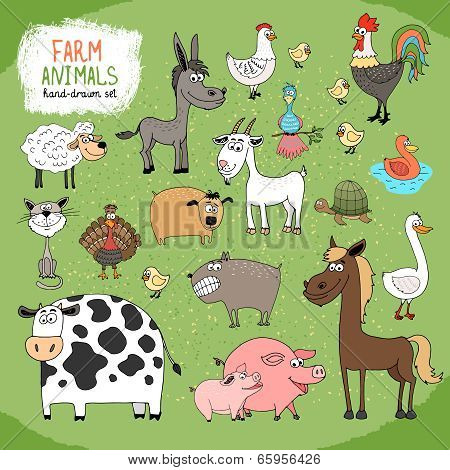 Set of hand-drawn farm animals
