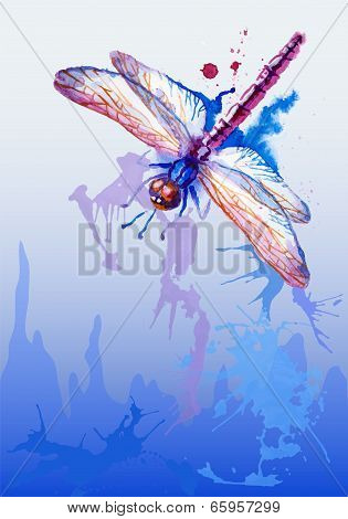 Vector Background With Purple Watercolor Dragonfly